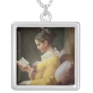 Young Girl Reading, c.1776 Silver Plated Necklace