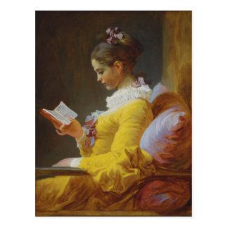 Young Girl Reading - Jean-Honoré Fragonard Post Card
