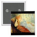 Young girl resting by Berthe Morisot Buttons