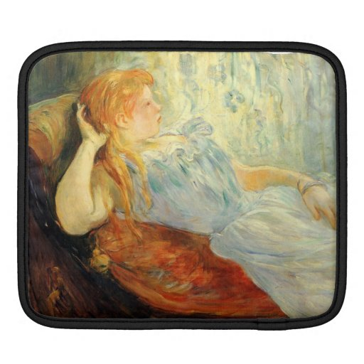 Young girl resting by Berthe Morisot Sleeve For iPads