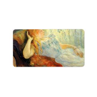 Young girl resting by Berthe Morisot Custom Address Label