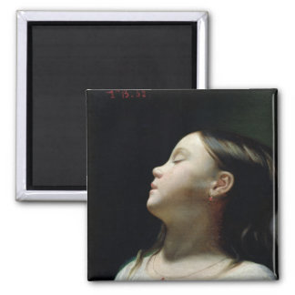 Young Girl Sleeping, 1852 2 Inch Square Magnet