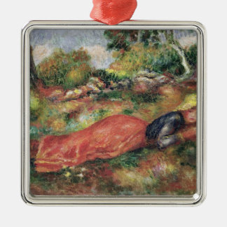 Young Girl Sleeping on the Grass Metal Ornament