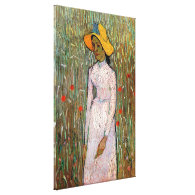 Young Girl Standing Against a Background of Wheat Stretched Canvas Prints
