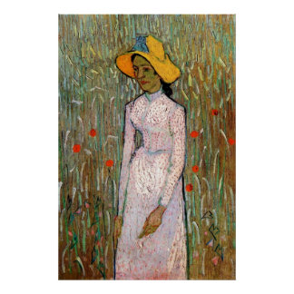 Young Girl Standing at Wheat Fields - van Gogh Posters