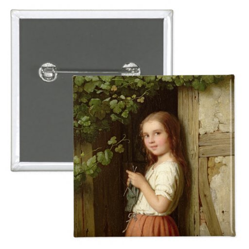 Young Girl Standing in a Doorway Knitting, 1863 Button
