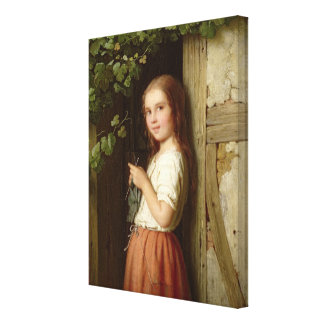 Young Girl Standing in a Doorway Knitting, 1863 Stretched Canvas Prints
