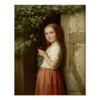 Young Girl Standing in a Doorway Knitting, 1863 Poster