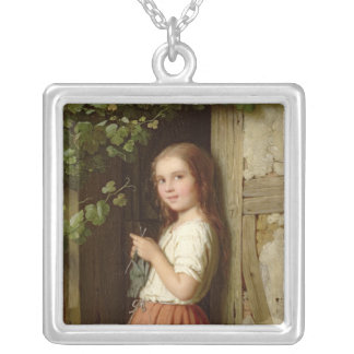 Young Girl Standing in a Doorway Knitting, 1863 Silver Plated Necklace