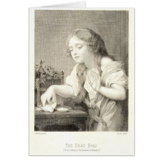 Young Girl, The Dead Bird 1900 Vintage Greeting Card