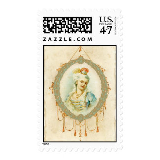 Young Girl Vintage French Style Postage Stamp
