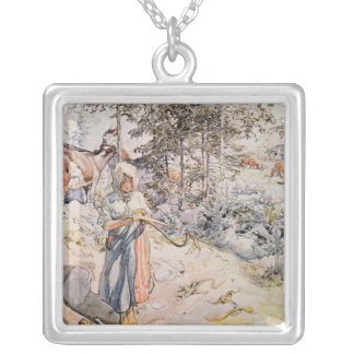 Young Girl Weaving, 1905 Square Pendant Necklace