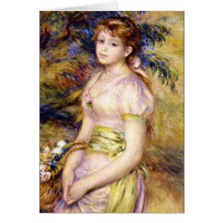 Young Girl with a Basket of Flowers by Renoir Cards