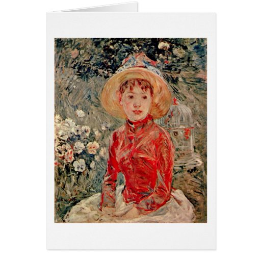 Young Girl With A Cage By Berthe Morisot Greeting Card