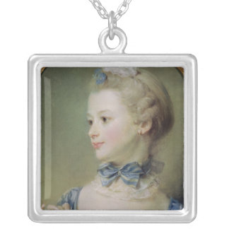Young Girl with a Cat Silver Plated Necklace