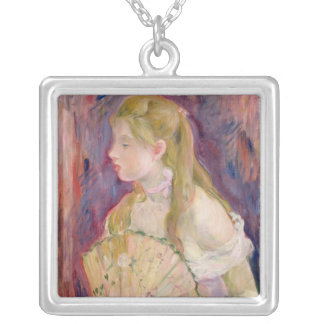 Young Girl with a Fan, 1893 Silver Plated Necklace