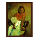 Young Girl With A Fan By Gauguin Paul Postcard