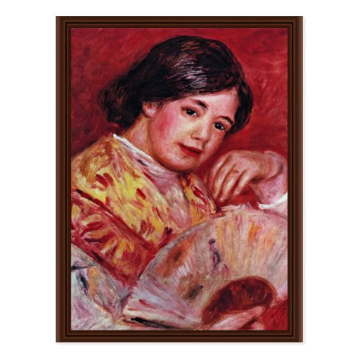 Young Girl With A Fan By Pierre-Auguste Renoir Postcard