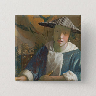 Young Girl with a Flute, c.1665-70 Pinback Button