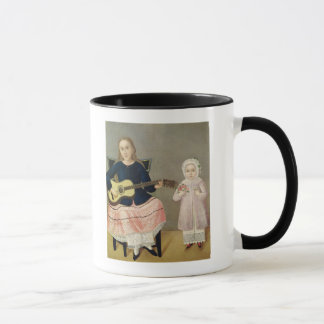 Young Girl with a Guitar and Child with a Mug