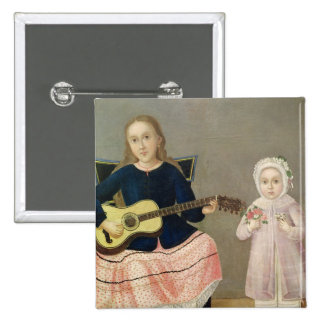 Young Girl with a Guitar and Child with a Pinback Button