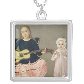 Young Girl with a Guitar and Child with a Silver Plated Necklace