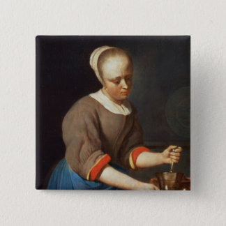 Young girl with a pestle and mortar button