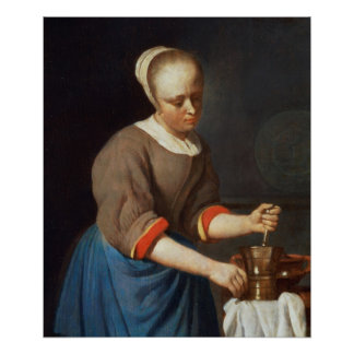 Young girl with a pestle and mortar print