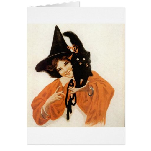 Young Girl with Black Kitty Greeting Cards