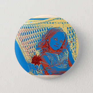 Young Girl with Blue Eyes Pinback Button