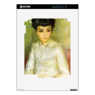 Young girl with brown hair by Pierre Renoir Skins For iPad 2