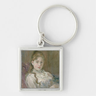 Young Girl with Cat, 1892 Keychain