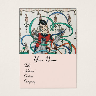 YOUNG GIRL WITH COLORFUL RIBBON SWIRLS AND CUPID BUSINESS CARD