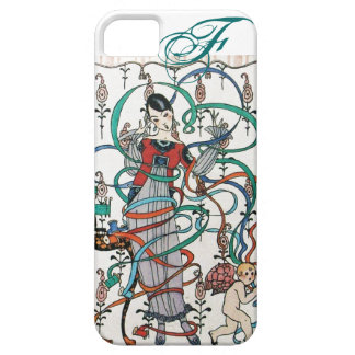 YOUNG GIRL WITH COLORFUL RIBBON SWIRLS AND CUPID iPhone 5 COVER