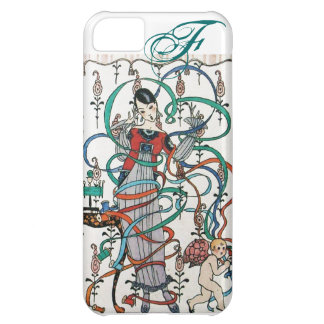 YOUNG GIRL WITH COLORFUL RIBBON SWIRLS AND CUPID COVER FOR iPhone 5C
