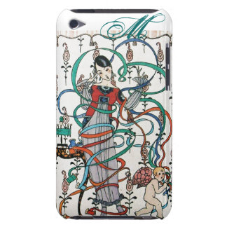 YOUNG GIRL WITH COLORFUL RIBBON SWIRLS AND CUPID iPod TOUCH CASES