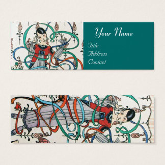 YOUNG GIRL WITH COLORFUL RIBBON SWIRLS AND CUPID MINI BUSINESS CARD