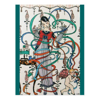 YOUNG GIRL WITH COLORFUL RIBBON SWIRLS AND CUPID POSTCARD