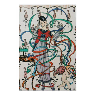 YOUNG GIRL WITH COLORFUL RIBBON SWIRLS AND CUPID POSTER