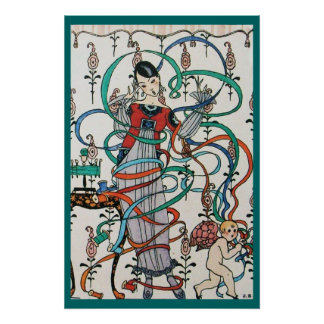 YOUNG GIRL WITH COLORFUL RIBBON SWIRLS AND CUPID POSTERS