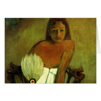 Young girl with fan - Paul Gauguin Card