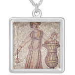 Young girl with flowers silver plated necklace