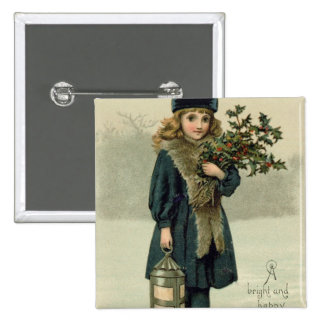 Young girl with Holly and Lantern Pinback Button
