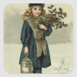 Young girl with Holly and Lantern Stickers