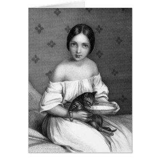 Young girl with kitten and bowl of milk greeting cards