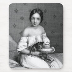 Young Girl With Kitten And Bowl Of Milk Mouse Pad at Zazzle