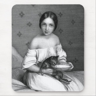 Young girl with kitten and bowl of milk mouse pad