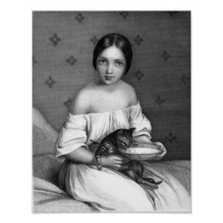 Young girl with kitten and bowl of milk posters