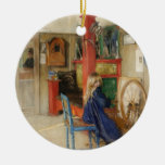 Young Girl with Spinning Wheel - Carl Larsson Ornaments
