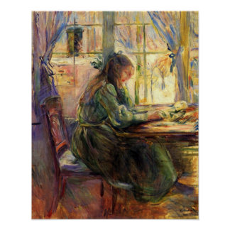 Young girl writing by Berthe Morisot Poster